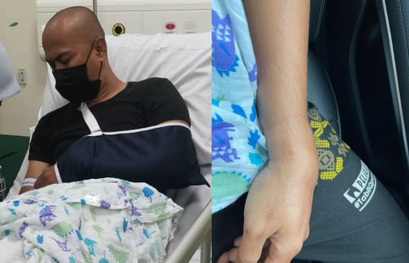 Achey dikejarkan ke Hospital untuk mendapatkan rawatan lanjut.
