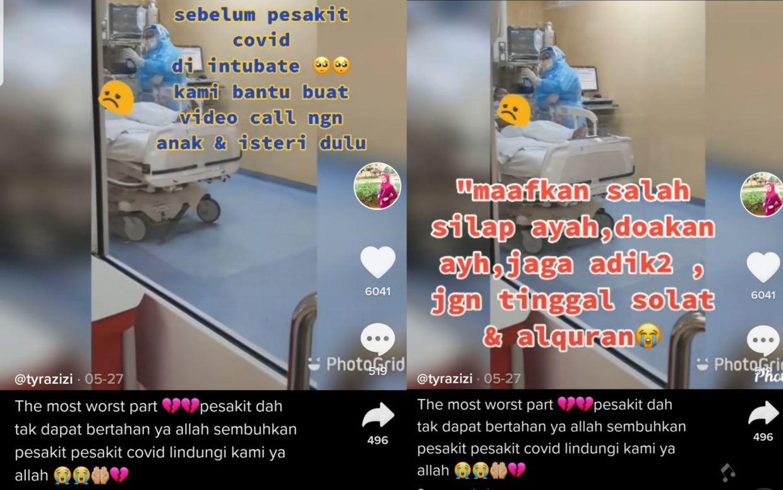 Doktor merawat pesakit Covid-19 berkongsi detik menemani pesakit membuat panggilan terakhir pada keluarga sebelum mereka dikomakan. - Tiktok Tyrazizi