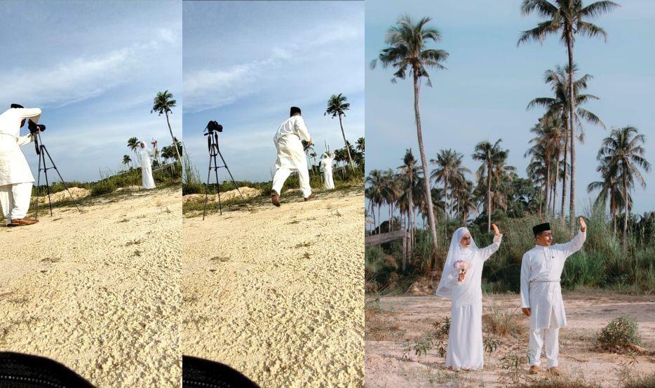 pengantin berlari rakam foto 3